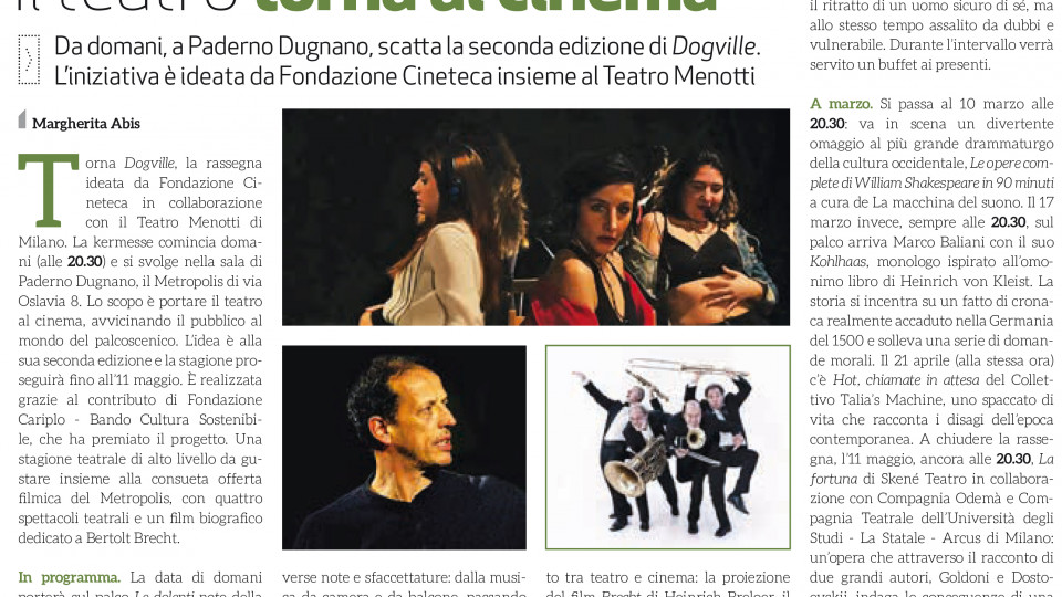STAGIONE TEATRALE DOGVILLE